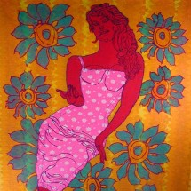 2002 - 78 x 58 inches - Acrylic, stitching, fabric and felt on canvas
