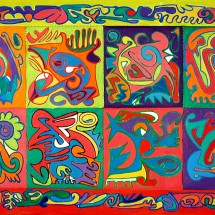 2008 - 66 x 39 inches - Acrylic and stitching on canvas