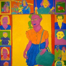1995 - 10 x 6.5 feet - Acrylic and stitching on canvas