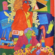 1997 - 64 x 75 inches - Acrylic and stitching on canvas