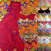 2002 - 84 x 70 inches - Acrylic, stitching, fabric and felt on canvas