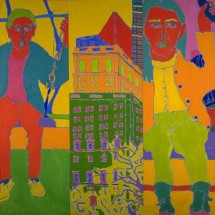 1991 - 9 x 6.5 feet - Acrylic and stitching on canvas