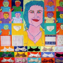 2001 - 8 x 9 feet - Acrylic, stitching and fabric on canvas