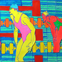 Swimmers and pool - 2015 - 58 x 84 inches - acrylic on canvas