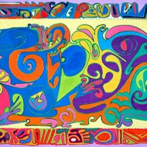 2008 - 43 x 93 inches - Acrylic and stitching on canvas