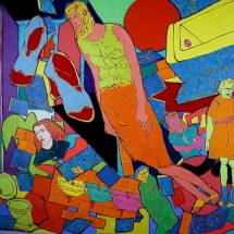 2004 - 58 x 70 inches - Acrylic, felt and cutouts on canvas