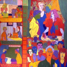 1999 - 90 x 97 inches - Acrylic and stitching on canvas