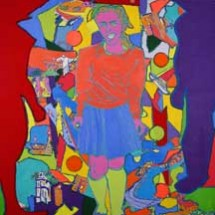 2004 - 45 x 47 inches - Acrylic, stitching and cutouts on canvas