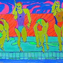 pool jump - 2015 - 60 x 19 inches - acrylic on canvas