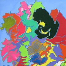 2002 - 66 x 37 inches - Acrylic, fabric and cutouts on canvas
