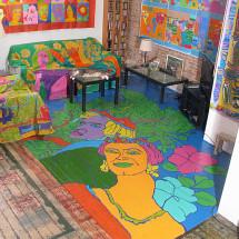 """acrylic and house paint on floor - 184"""" x 142"""""""