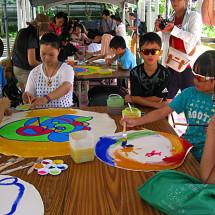workshop, several mediums on canvas